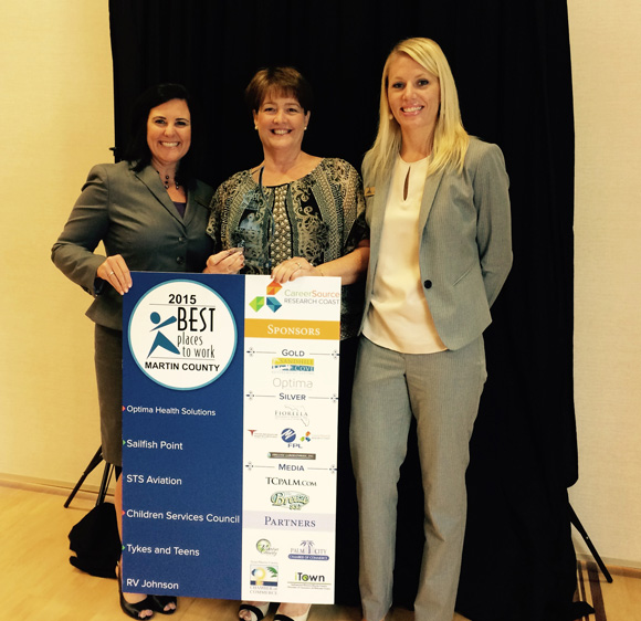 Kelly Johnson receives award for Best Places to Work Martin County