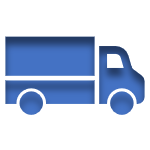 Blue Icon of a Truck linked to the Commercial Automobile Insurance Page